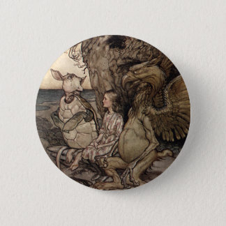 Alice with the Gryphon and the Mock Turtle 6 Cm Round Badge