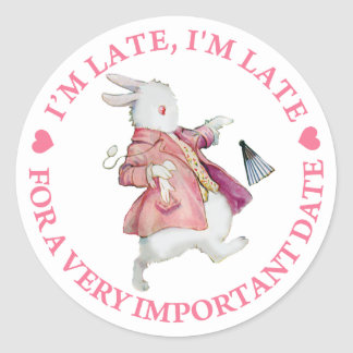 """ALICE'S RABBIT RUSHES BY, """"I'M LATE, I'M LATE"""" ROUND STICKER"""