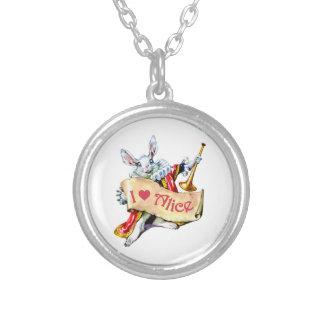 """Alice's White Rabbit says, """"I love Alice"""" Round Pendant Necklace"""