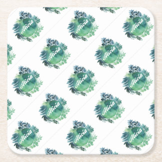 Alicia foliage square paper coaster