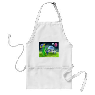 Alien and Flying Saucer on Moon Standard Apron
