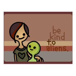 alien announcements. postcard
