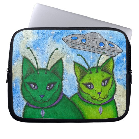 Alien Cats UFO Space Fantasy Cat Art Laptop Sleeve