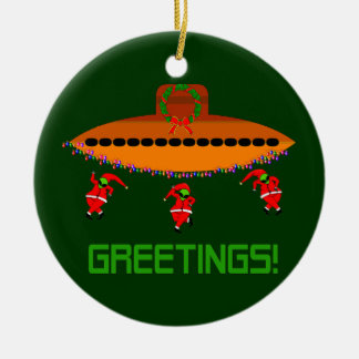 Alien Christmas Ceramic Ornament