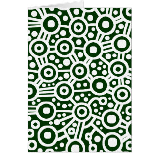 Alien Circuit Abstract - White on Dark Green Greeting Card
