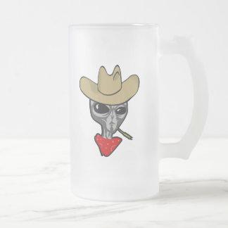 Alien Cowboy Frosted Glass Beer Mug