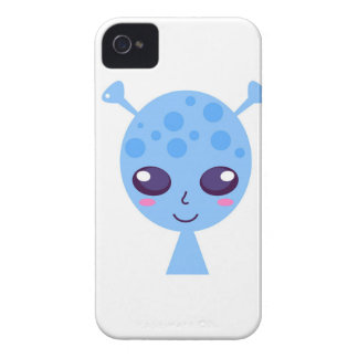 Alien cute design on blue iPhone 4 case