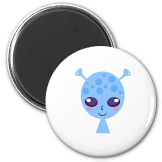 Alien cute design on blue magnet