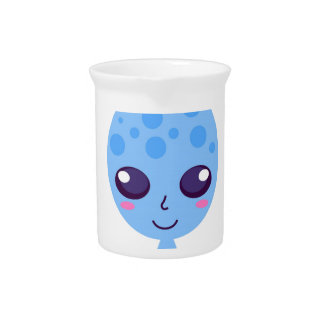 Alien cute design on blue pitcher