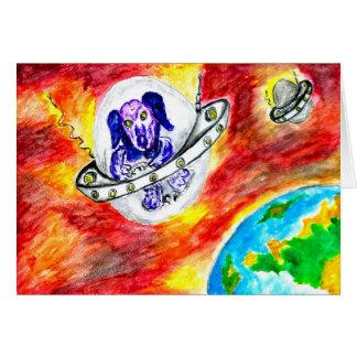 Alien Dog in Space Art Card