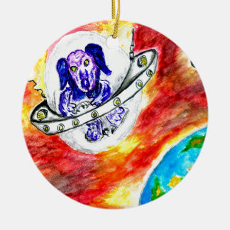Alien Dog in Space Art Ceramic Ornament