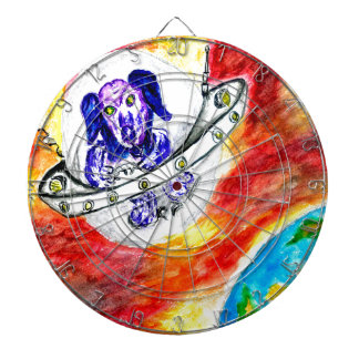 Alien Dog in Space Art Dartboard