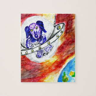 Alien Dog in Space Art Jigsaw Puzzle