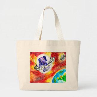 Alien Dog in Space Art Large Tote Bag