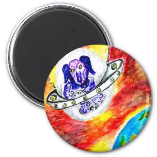 Alien Dog in Space Art Magnet
