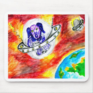 Alien Dog in Space Art Mouse Pad
