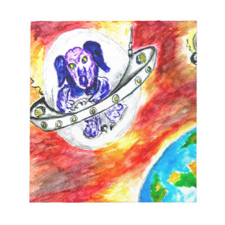 Alien Dog in Space Art Notepad