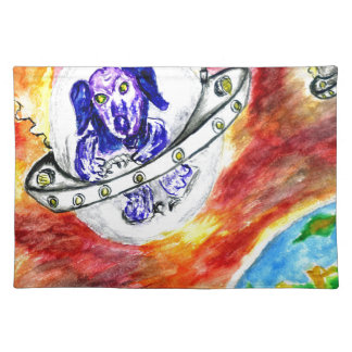 Alien Dog in Space Art Placemat