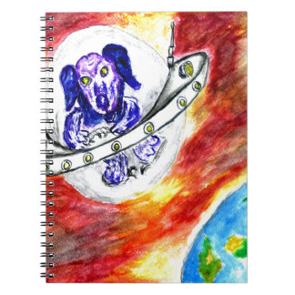 Alien Dog in Space Art Spiral Notebook