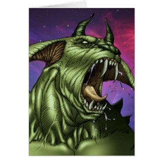 Alien Dog Monster Warrior by Al Rio Greeting Card