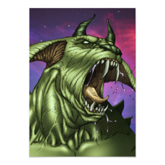 "Alien Dog Monster Warrior by Al Rio 5"" X 7"" Invitation Card"