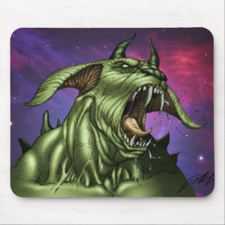 Alien Dog Monster Warrior by Al Rio Mouse Pads