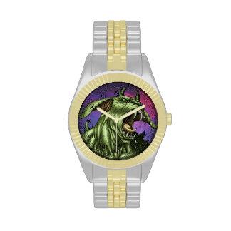 Alien Dog Monster Warrior by Al Rio Wrist Watch