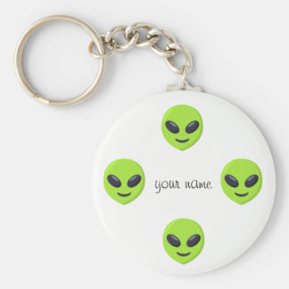 """Alien Emoji Face  and '' Your Name Here """" Key Ring"""