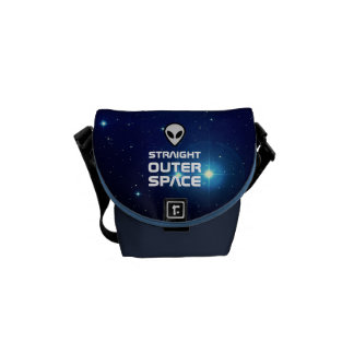 Alien Emoji with Outer Space Sci Fi Scene Courier Bags