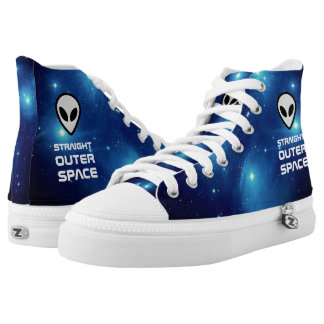Alien Emoji with Outer Space Sci Fi Scene High Tops