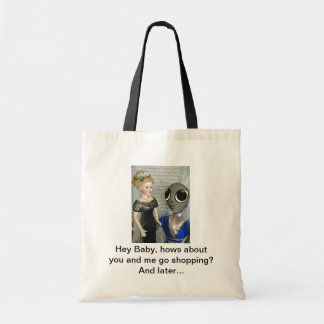 Alien Flirting with Doll - Budget Tote Bag