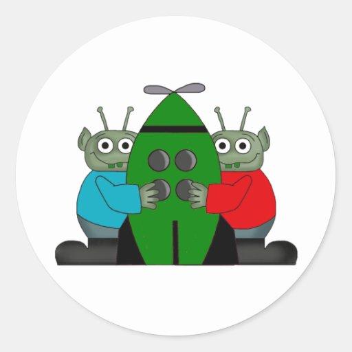 Alien Graphic Gifts Round Sticker