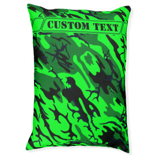 Alien Green Camo Dog Bed with Custom Text