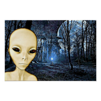 Alien Grey UFO Invasion Poster