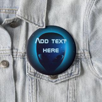 Alien head in space 10 cm round badge