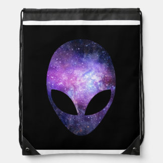 Alien Head With Conceptual Universe Purple Drawstring Bags