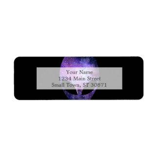 Alien Head With Conceptual Universe Purple Return Address Label