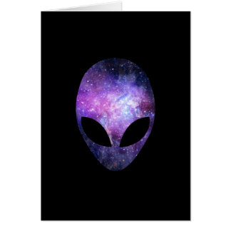 Alien Head With Conceptual Universe Purple Note Card