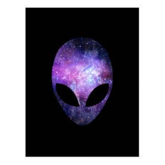 Alien Head With Conceptual Universe Purple Postcard