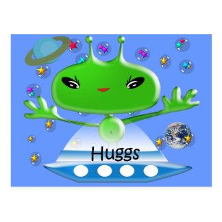 Alien Hugs Postcard