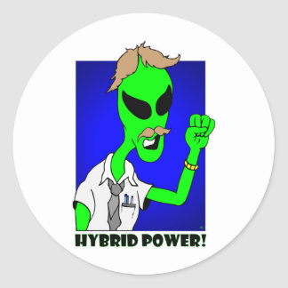 alien hybrid power round sticker
