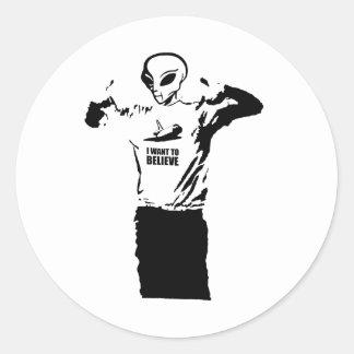 Alien - I want to believe Round Sticker