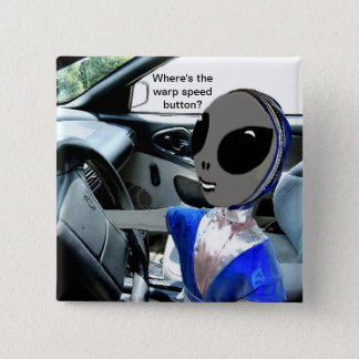 Alien in Car - 15 Cm Square Badge