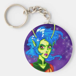 Alien Invader Girl Basic Round Button Key Ring