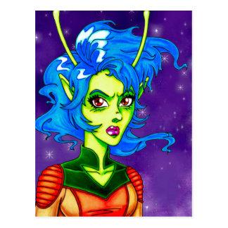 Alien Invader Girl Postcard