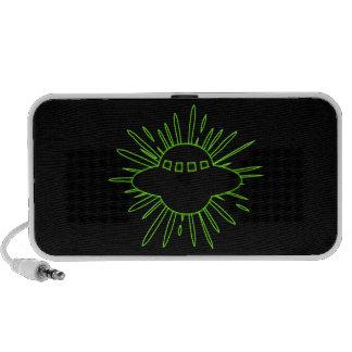Alien Invasion Green Ufo With Splatter Travelling Speaker