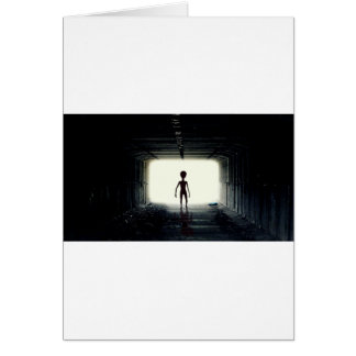 Alien Leaving Spaceship Card