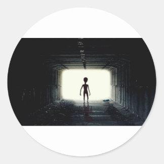 Alien Leaving Spaceship Classic Round Sticker