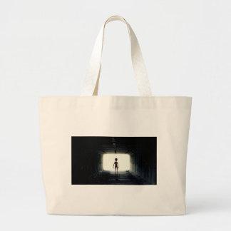 Alien Leaving Spaceship Large Tote Bag