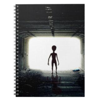 Alien Leaving Spaceship Notebook
